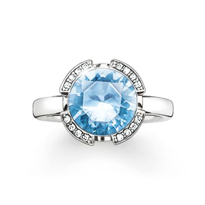 "THOMAS SABO SOLITAIRE RING ""SIGNATURE LINE LIGHT BLUE PAVÉ"""